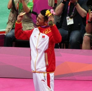 lin dan celebrating gold medal