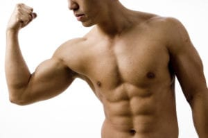 man flexing biceps